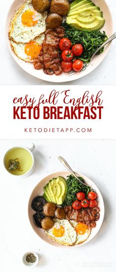 A healthy low-carb version of traditional full English breakfast. It's just as delicious and satisfying with none of the carbs! A healthy low-carb version of traditional full English breakfast. It's just as delicious and satisfying with none of the carbs! Best Keto Breakfast, Breakfast Recipes, English Breakfast Ideas, English Breakfast Traditional, Low Carb Recipes, Whole Food Recipes, Low Carb Diet, Easy, Dinner