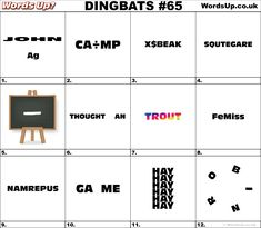 Online word games and puzzles, quizzes, brain teasers and dingbats. Activity Games, Fun Activities, Rebus Puzzles, Word Up, Up Game, Word Games, Brain Teasers, Thoughts, Math