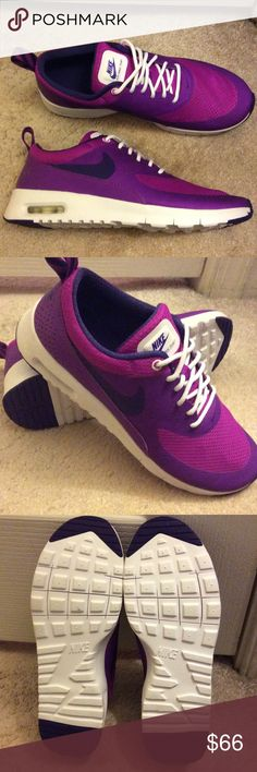 🆕 Nike max Thea grape purple/ pink New without box NIKE max Thea in grape purple/ pink. Please note this is a size 6Y (youth)= women's US size 7   ***PRICE IS FIRM***  My sister purchased these, but haven't worn them. These are brand new and we will keep them if there are no takers at this price!   NO OFFERS or NEGOTIATIONS or TRADEs please!  Thank you for understanding  :)   I also have a NEW Brooks Adrenaline size 7 if interested- please see my other listings :) Nike Shoes Athletic Shoes