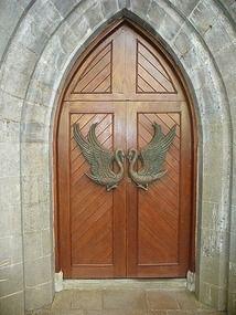 Bronze Swan doors of St. Columba's Church in Drumcliff, Ireland