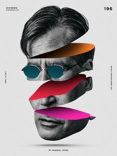 This poster has taken a black and white head shot and sliced it, spreading out the segments and placed shapes in the image to create a 3d effect,as if the head is made up of colour. It has symmetrical balance and contrast is created with the use of colour and black and white image. Possible keywords: fun, spliced, movement.