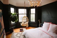 love the black walls from Oh Happy Day : Bedroom Makeover