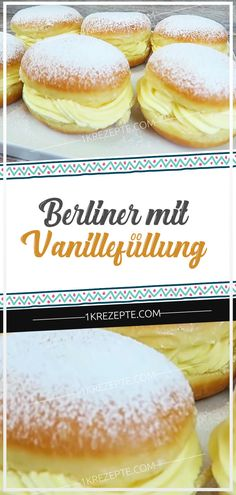Berlin with vanilla filling - German Cake, Donuts, Buffet, Muffins, Vanilla, Deserts, Cupcakes, Sweets, Bread