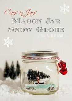 Car in Jar Snow Globe - 23 Easy to Make DIY Christmas Ideas