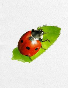 Ladybug Painting Art Print  Animal black white green red Home Decor  Wall Decor Kitchen Decor Beach Decor
