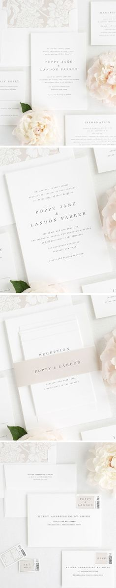 A classic serif font with elegant script type creates the bride and groom's names on these simple wedding invitations. Paired with a floral envelope liner and a champagne belly band. Looking for your wedding invitation to stand the test of time? Classy Wedding Invitations, Wedding Invitation Wording, Wedding Stationary, Invitation Ideas, Reception Invitations, Floral Invitation, Birthday Invitations, Invitations Online, Diy Invitations