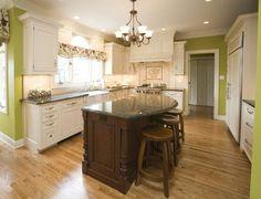 oak floors and green walls - Traditional Kitchens - Kitchens.com