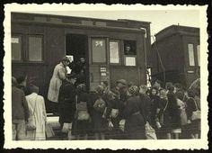 Westerbork, Holland, Jews boarding a deportation train to Auschwitz. - Westerbork, Holland, 1942-1943, a personal album of camp commander Albert Konrad Gemmeker.