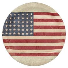 USA Flag Paper Plates - independence day 4th of july holiday usa patriot fourth of july