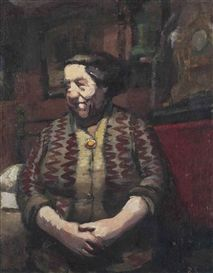 Artwork by Ruskin Spear, The landlady, Made of oil on board