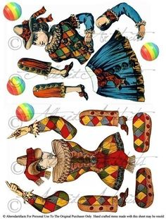 Instand Download Just Jesters Theater Puppets Articulated Puppet Paper Doll Digital Collage Sheet Circus Clowns