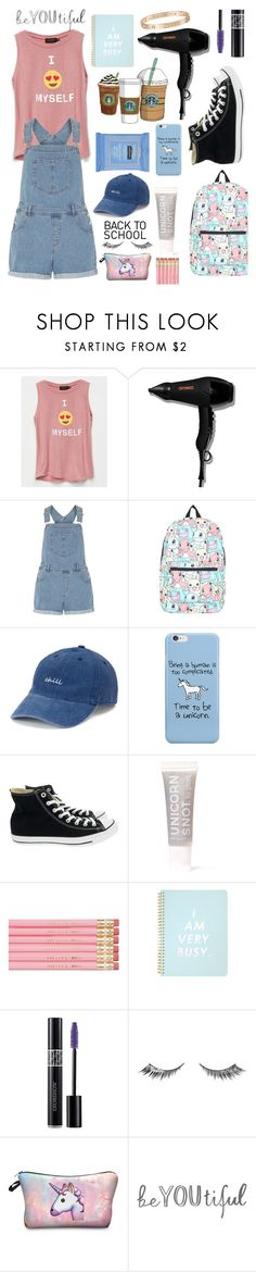 """Let's Be Nerds: Denim Overalls"" by pinkrasberry ❤ liked on Polyvore featuring Poolhouse, amika, Cotton Candy, Dorothy Perkins, Neutrogena, Nintendo, SO, Converse, FCTRY and ban.do"