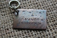 Custom Hand Stamped Dog ID Tag, The Banner, Personalized Dog Tag, Tag with Stars, Tag for Large Dog, Copper Dog Tag, Aluminum Pet ID Tag by TheLandlockedDogTwo on Etsy