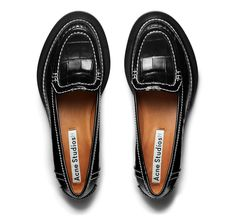 Acne Studios Penny Croco black is a crocodile embossed calf leather loafer.