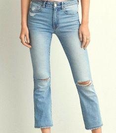 0ee66248be5 AMERICAN EAGLE NEW Jeans Womens 20 Reg Hi Rise Kick Crop RIPPED Stretch  Denim  AmericanEagleOutfitters