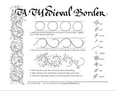 medieval border technique featured Beginner's Guide: Calligraphy and Illumination Calligraphy Borders, Calligraphy Tutorial, Calligraphy Alphabet, Islamic Calligraphy, Font Alphabet, Lettering Tutorial, Modern Calligraphy, Medieval Manuscript, Medieval Art