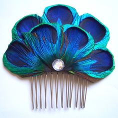 CARLY COMB - Peacock Feather Comb Fascinator Wedding Hair Accessory - Made to Order, via Etsy.