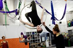 """A former newspaper plant in Ithaca, N., is now a practice space whose founder considers stunts not only an art form but also """"a life tool."""