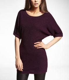 Express metallic T-shaped tunic sweater
