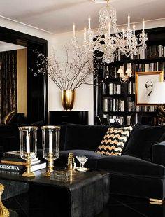 Decoração da sala em preto e dourado. Puro glamour. Black & Gold #living #room #Interior #Designer  #Casa #lar #home #house # maison #decor #decoration #decoração