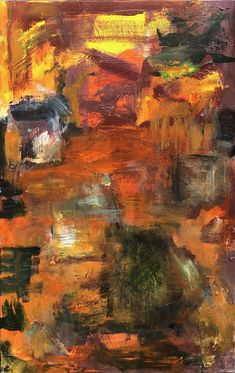 """Fire At Sunset is a 30""""w x 48""""h painting in acrylic paint on canvas."""