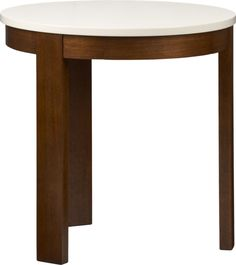 Our modern round side table conveys a clean, open aesthetic in an appealing mix of oyster white and warm walnut.  Beautifully balanced tripod base conceals a hardware-free drawer for stowing most remotes or coasters (see additional photos). Base is solid sepitir wood with walnut veneerTop is oyster white lacquer over low-emission engineered woodMade in Vietnam.