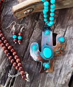 COWGIRL Bling CACTUS Western COPPER TONE Turquoise Gypsy NECKLACE set #Unbranded