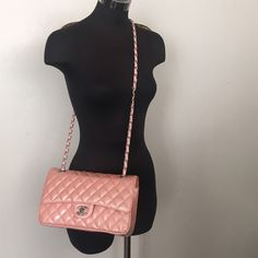 """Vintage Chanel Double Flap Patent Pink Purse Bag Excellent overall condition, interior is perfectly clean, comes with dustbag, strap is Ajustable to wear cross body or shoulder bag, 10"""" X 6"""" X 2""""  with 10"""" / 19 1/2"""" Strap drop CHANEL Bags Crossbody Bags"""