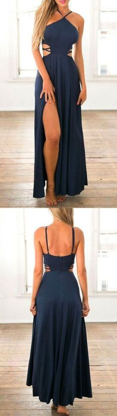 Navy Blue Prom Dress,Spaghetti Straps Evening Dress,Side Slit Party Dress  G307