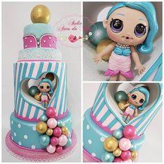 No photo description available. Funny Birthday Cakes, Birthday Cake Girls, 4th Birthday Parties, Birthday Cupcakes, Lol Doll Cake, Doll Party, Bday Girl, Ballerina Cakes, Lol Dolls
