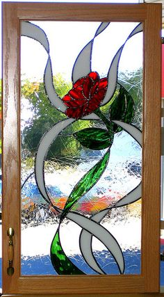 Stained Kitchen cabinet - Rose Kitchen Cabinet Door in Stained Glass Tiffany Stained Glass, Stained Glass Flowers, Faux Stained Glass, Stained Glass Designs, Stained Glass Panels, Stained Glass Projects, Stained Glass Patterns, Stained Glass Cabinets, Window Art