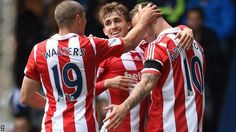 Charlie Adam's late goal gives Stoke victory at West Brom as they complete their best league season since Charlie Adam, Stoke City Fc, West Bromwich, Victorious, Football, Celebrities, Sports, Soccer, Hs Sports