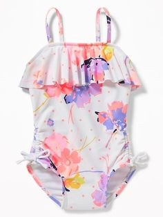 Ruffled Floral-Print Swimsuit for Toddler Girls