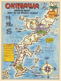 Okinawa Map Art Print - Japan Retro Illustration, Okinawa Island Poster Download, Ryukyu Islands Pri Okinawa Japan, Kyoto Japan, Pacific Map, Japan Beach, Pictorial Maps, Naha, Retro Illustration, Vintage Wall Art, Japanese Culture