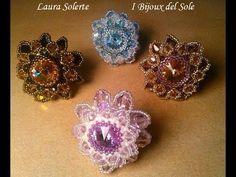 Tutorial perline: anello Dahlia con delica, rocailles e cristalli swarov...