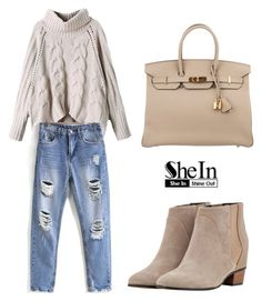 """""""SHEINSIDE Blue Jeans"""" by tania-alves ❤ liked on Polyvore featuring Golden Goose and Hermès"""