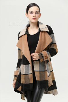 Shop High Quality Plaid Lapel Asymmetrical Hem Trench Coat At Dressve.Com, And The Price Is Low Only At US$51.99