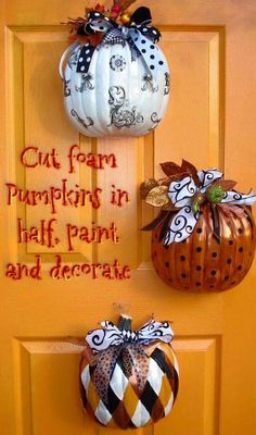 Pumpkins on door
