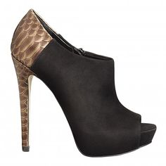 The shoe that got away.  Black Suede + Gold Snakeskin bootie