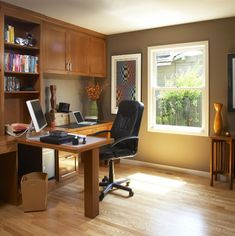 Home Office - traditional - home office - other metro - Harrell Remodeling. I also like the paint color and use of flooring and wood