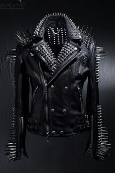 HANDMADE men's full black punk silver long spiked studded leather buttons up jacket silver studs and spikes black leather made to order - Marlene Valencia Spiked Leather Jacket, Studded Jacket, Biker Leather, Leather Men, Black Leather, Cowhide Leather, Leather Jackets, Real Leather, Custom Leather