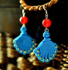 2014 Freeshipping Round Dangle Earring Brincos Women None No.1106 ] [original Handmade Ethnic Chinese Style Peacock