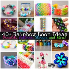 Check out over 40 awesome Rainbow Loom tutorials and ideas, featuring bracelet and charm patterns as well as storage and organization ideas!