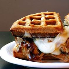 Belgian Waffles and Bourbon Pulled Pork make this Wafflich the ultimate dish! Wrap Recipes, Pork Recipes, Gouda Recipe, Smoked Pulled Pork, Smoked Gouda, Shredded Pork, Belgian Waffles, Morning Food, Food Truck