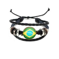Fashion World Cup Bracelet for Women Gold Charms National Flag Leather Bracelets Men Jewelry Friendship Gift for Football Fans Unique Bracelets, Braided Bracelets, Bracelets For Men, Leather Bracelets, Bangles, Gifts For Football Fans, Bracelet Cuir, Friendship Gifts, Leather Cord