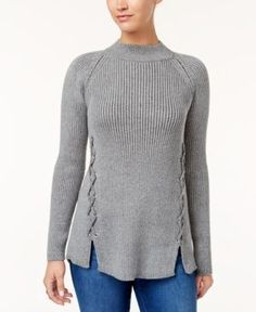 Style & Co Ribbed Lace-Up Sweater, Created for Macy's - Gray XXL