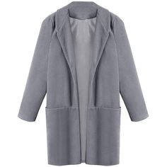 Yoins Grey Maxi Coat with Pockets (1 025 UAH) ❤ liked on Polyvore featuring outerwear, coats, tops, coats & jackets, grey, maxi coat, grey boyfriend coat, zip coat, gray coat and grey coat