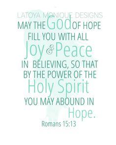 Romans 15:13 Scripture Art, Scripture Print, Bible Verse Art, 8x10 Wall Decor. $14.00, via Etsy.