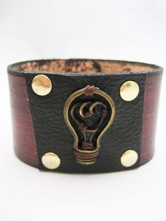 Light Bulb Leather Bracelet Real Leather by Treeleafleather