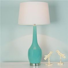 Long Neck Ceramic Table Lamp, Soft Turquoise contemporary table lamps